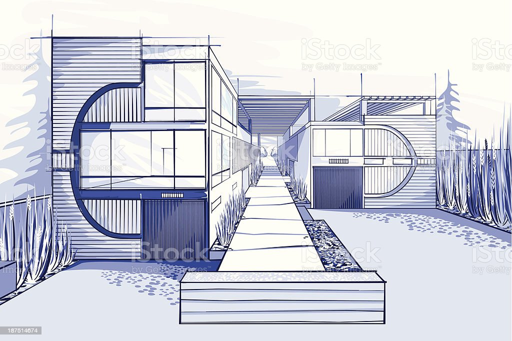Modern houses illustration  in blue colors royalty-free stock vector art