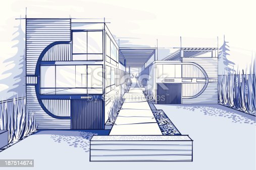 istock Modern houses illustration  in blue colors 187514674