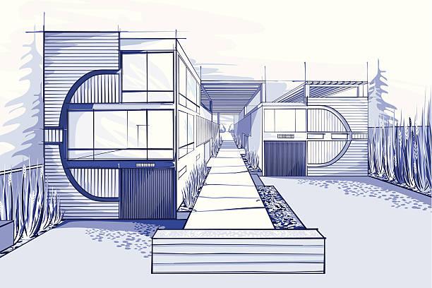 moderne häuser illustration in blauen farben - hausprojekte stock-grafiken, -clipart, -cartoons und -symbole