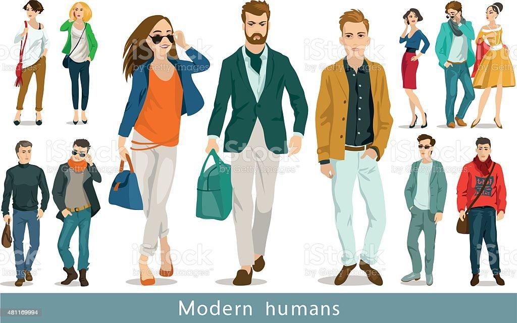 modern humans vector art illustration