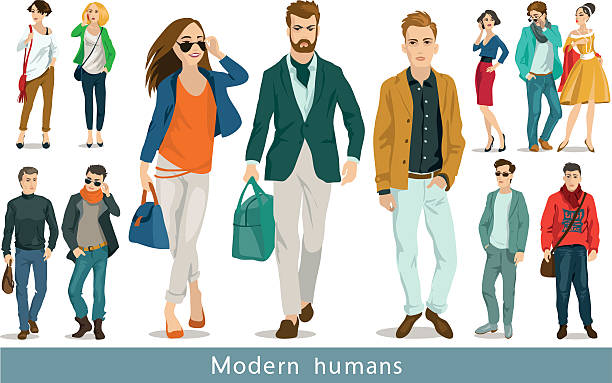 modern humans - preppy fashion stock illustrations, clip art, cartoons, & icons
