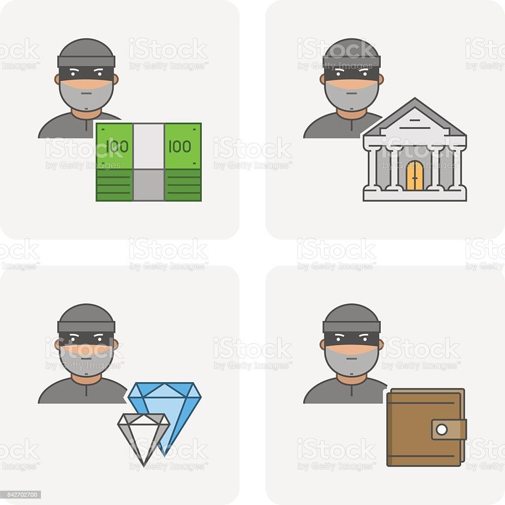 Moderne Stehlen moderne ikone bank diebstahl vektorsymbol der stehlen geld stock