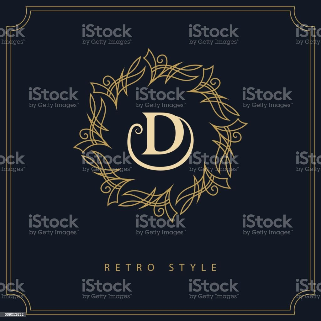 Geometric Initial Monogram Template. Letter Emblem D. Mark Of Distinction