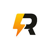 istock Modern Iconic R Thunder Initial logo designs, Electricity logo template 1253972733