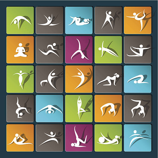 modern icons for mobile devices and interfaces - gymnastics stock illustrations, clip art, cartoons, & icons
