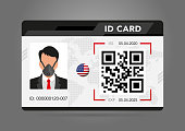 Modern ID card. Photo of a man in a protective mask, a respirator, personal protective equipment. electronic chip ID, national ID. Vector illustration