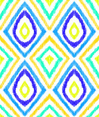 Modern Ikat Pattern with Vibrant Colors. Bohemian Style Pencil Drawing Design Element. Pastel Drawing Vector Tile Pattern. Gypsy, Indian Traditional Design.