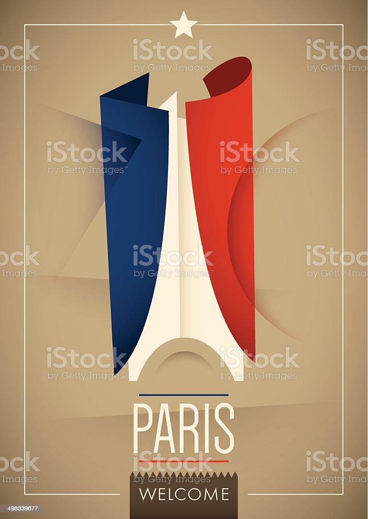 Modern illustrated Paris poster. vector art illustration