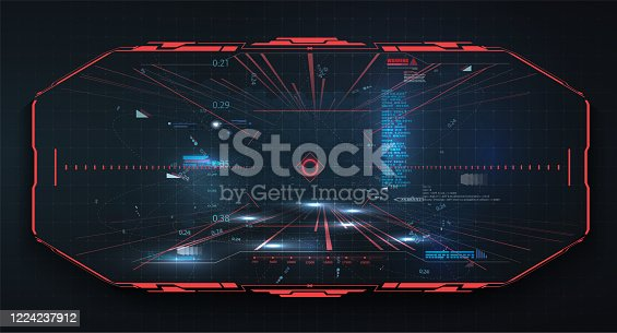 istock Modern illustration for game background design Futuristic HUD, GUI interface screen design  vector. Sci-Fi Virtual Reality technology view display. Technology vr background. Red virtual reality gaming 1224237912