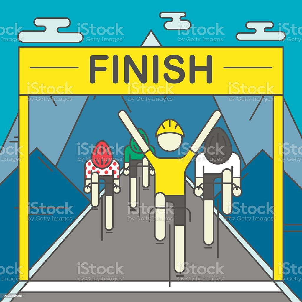 Modern Illustration of cyclists on finish line vector art illustration