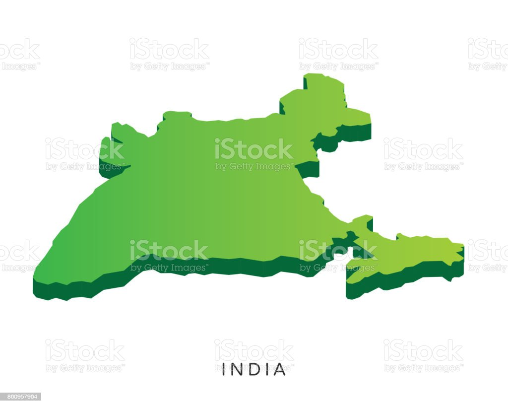 Modern India Isometric 3d Country Map Illustration Stock Vector Art ...