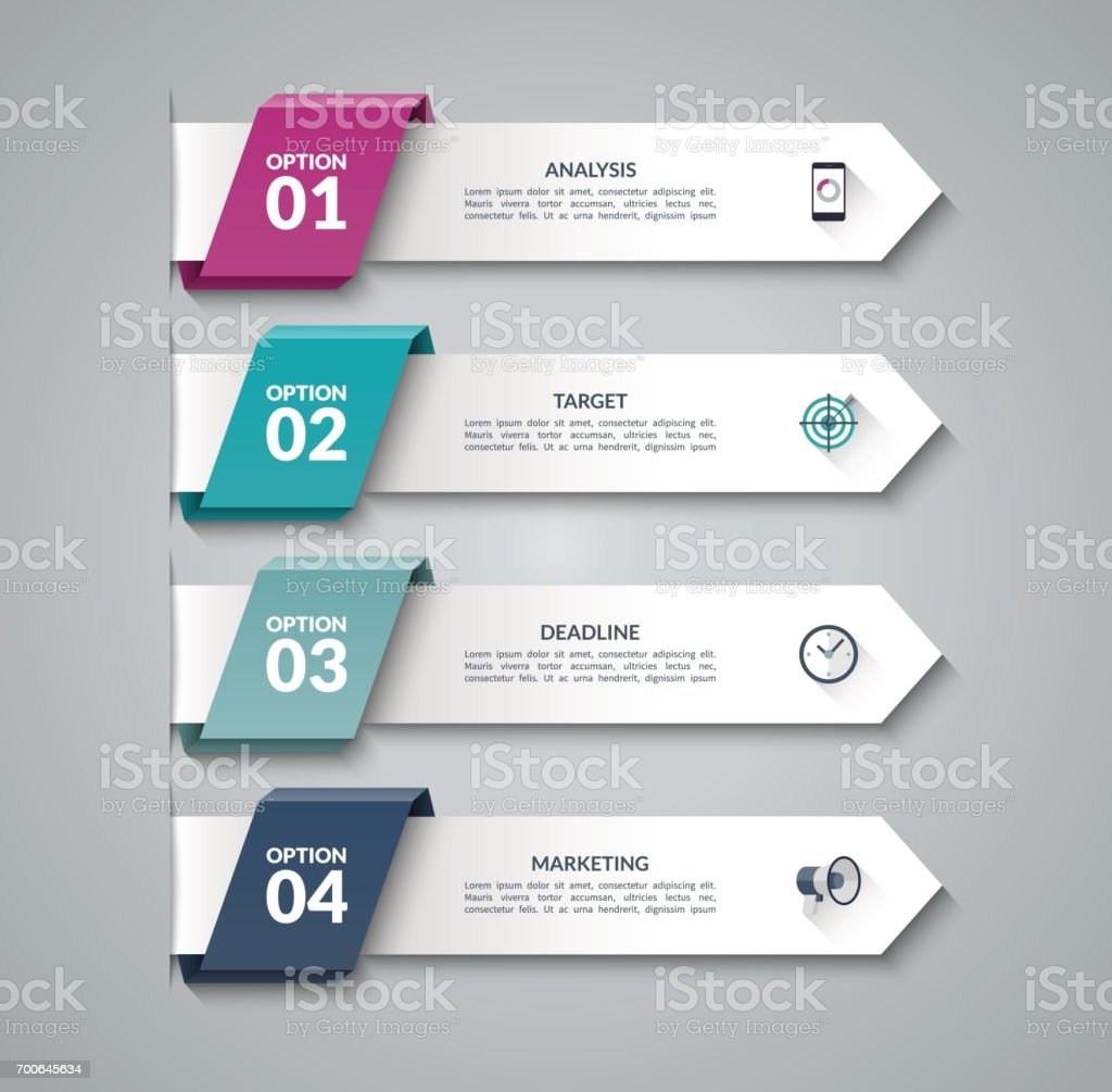 Modern infographic arrows. Vector design template of 4 options, steps, parts. Can be used for workflow layout, diagram, step by step infographics, graph, chart, diagram, web design. - ilustração de arte vetorial