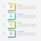 Four numbered square paper white elements placed into vertical row, thin line pictograms and text boxes. Modern infographic design template. Vector illustration for presentation, brochure, report.