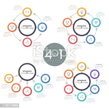 Set of diagrams with circles placed around main central round element or connected to it, thin line icons and text boxes. Modern infographic design template. Vector illustration for business report.