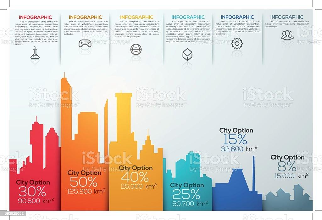 Modern infographic option banner with colorful city bar chart - ilustración de arte vectorial