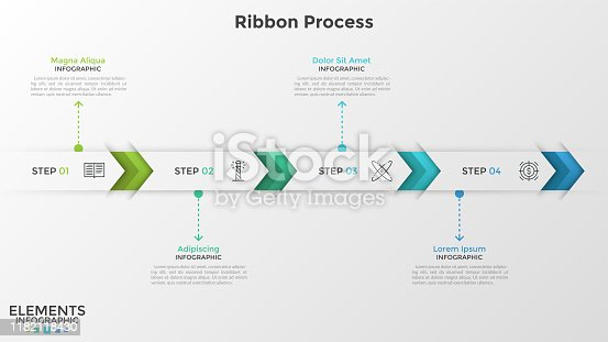Horizontal ribbon or stripe divided into 4 arrow-like parts with thin line pictograms inside. Concept of 4 successive steps of business development. Infographic design template. Vector illustration.