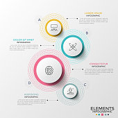 Four separate paper white circular element of different size with linear icons inside surrounded by colorful dotted lines and text boxes. Clean infographic design template. Vector illustration.