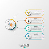Four rounded elements with thin line icons and place for text inside connected to paper white circle. Concept of 4 features of business development. Infographic design template. Vector illustration.