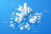 Modern isometric or 3d location map with paper white living and industrial buildings, city landmarks, streets and place for text or description. Clean infographic design template. Vector illustration.