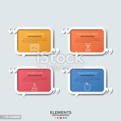 Four multicolored rectangular speech balloons with thin line icons, place for text inside and quotation marks. Concept of conversation, dialog, talk. Infographic design template. Vector illustration.