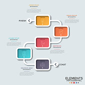 Flowchart. Five colorful rectangular elements with linear symbols inside connected by curved line, start and finish. Concept of map or maze. Creative infographic design template. Vector illustration.