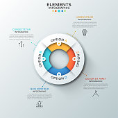 Circular pie chart divided into 4 colorful pieces, thin line symbols and text boxes. Concept of four characteristics of business process. Creative infographic design layout. Vector illustration.