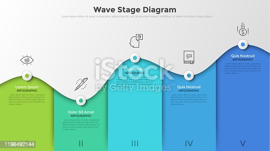 Bar chart or wave stage diagram with 5 colorful columns, curved line, linear icons and place for text. Concept of business analytics visualization. Infographic design template. Vector illustration