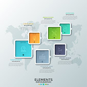 Six colorful square elements of various size with arrows or pointers, thin line symbols and letters inside placed on world map. Creative infographic design template. Vector illustration for website.