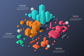 Modern isometric or 3d location map with paper colorful living and industrial buildings, city landmarks, streets and place for text or description. Clean infographic design template. Vector illustration
