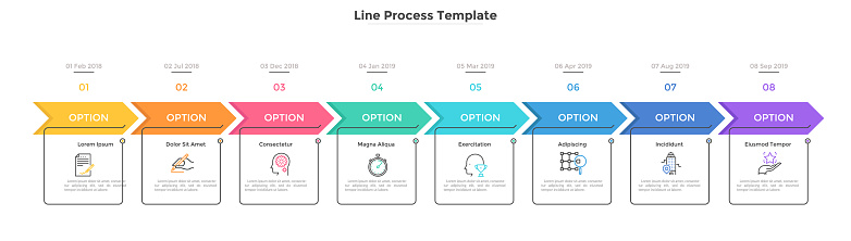 Horizontal chart with 8 rectangular elements, arrows and dates. Eight milestones of company's development history. Simple infographic design template. Flat vector illustration for presentation, report