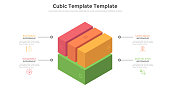 Cube divided into 4 colorful parts or pieces and place for text. Concept of four features of startup project. Volumetric infographic design template. Modern vector illustration for business analysis.