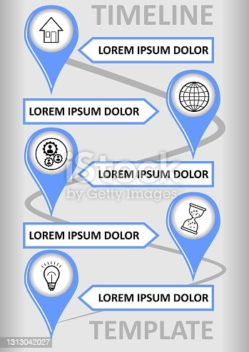 istock Modern infographic timeline template with place markers on the wavy path, text boxes for custom captions. Modern simple design, blue marks on the background with light gray gradient. 1313042027