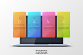 Realistic opened laptop and 4 colorful translucent rectangular elements with letters, thin line pictograms and text boxes inside. Concept of four features of provided service. Vector illustration.