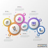 Six separate paper white elements with thin line pictograms inside surrounded by gradient colored frame and text boxes. Creative infographic design template. Vector illustration for presentation.
