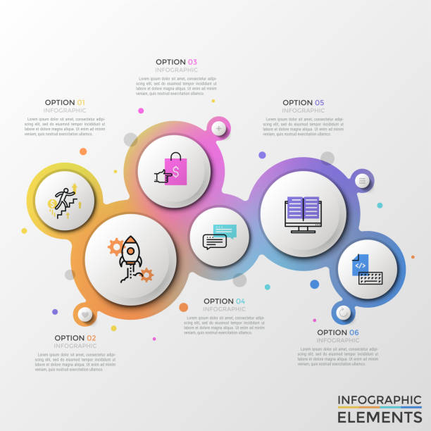 illustrations, cliparts, dessins animés et icônes de modèle de vecteur infographique moderne - nuage 6