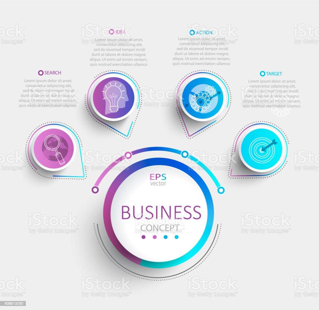 ビジネス タイムライン データの可視化と近代的なインフォ グラフィック