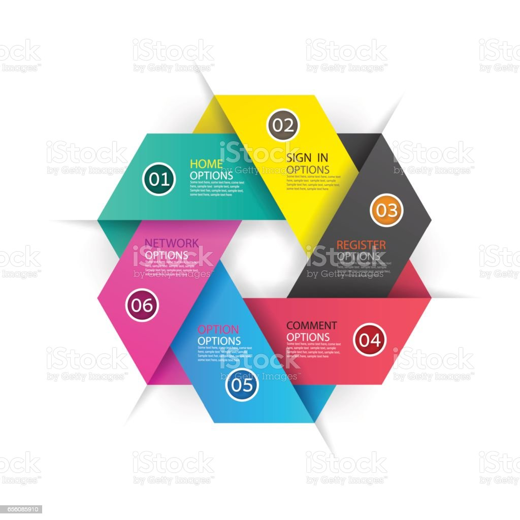 Modern infographics business design with 6 options options banner. vector art illustration
