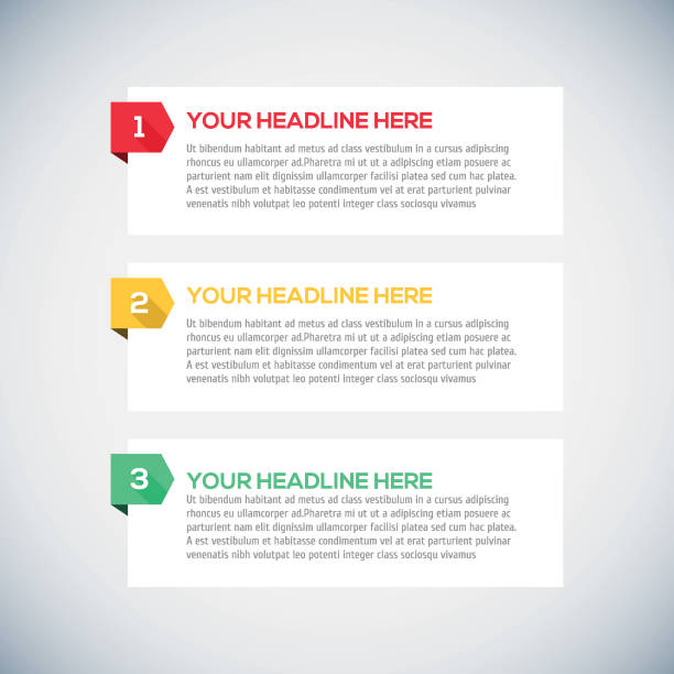 modern infographics design layout with long shadow. - single object stock illustrations, clip art, cartoons, & icons