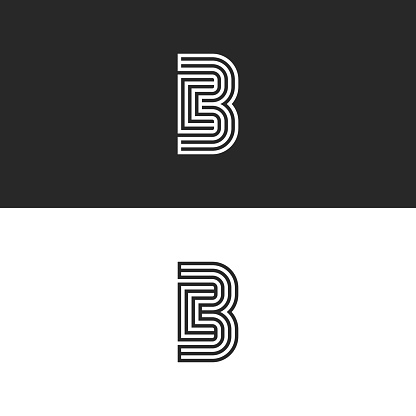 Modern initials CB logo creative monogram, minimal style parallel thin lines black and white design, couple two letters C and B, creative idea wedding card emblem BC