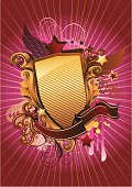 design elements - shield with banner,  stars & decorations; vector artwork