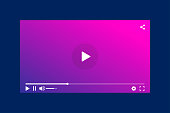 Modern interface video player. Template for applications and web technology. Blue background. EPS 10