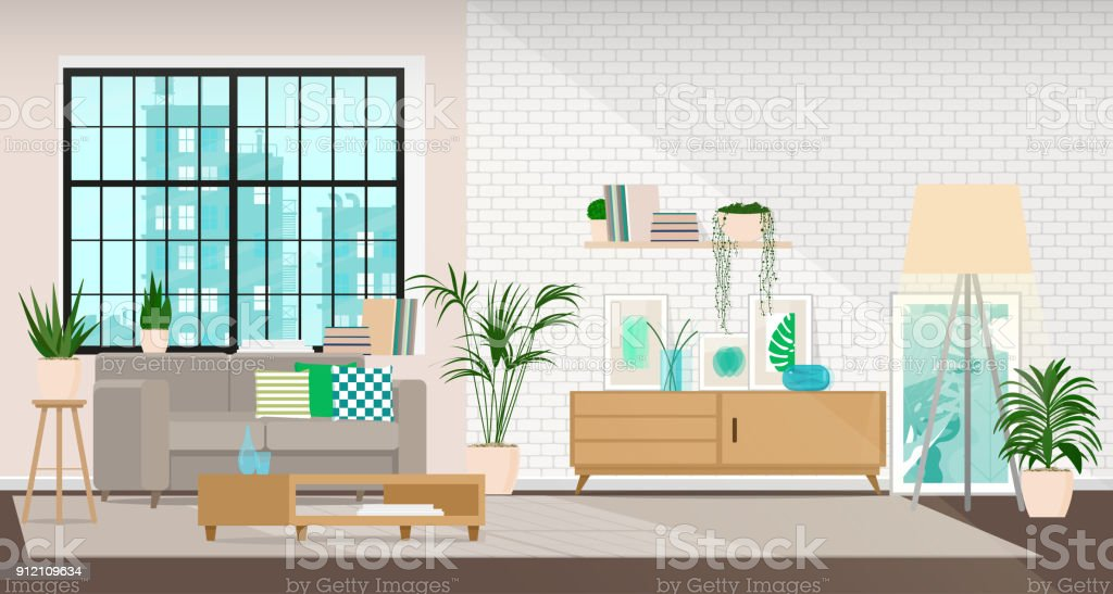 Modern interior design of a living room or office space in an industrial style - Royalty-free Acessório arte vetorial