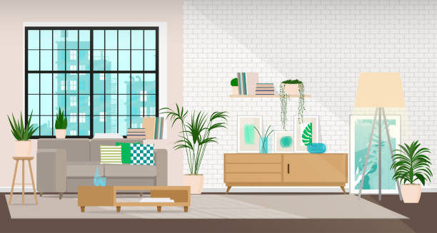 ilustrações de stock, clip art, desenhos animados e ícones de modern interior design of a living room or office space in an industrial style - sala