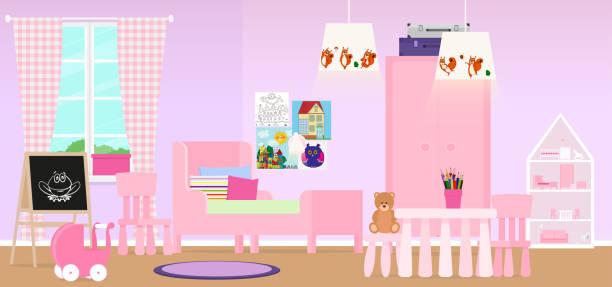 Modern interior design room for girls in pink. Vector illustration Vector illustration. Painted in shape dollhouse stock illustrations