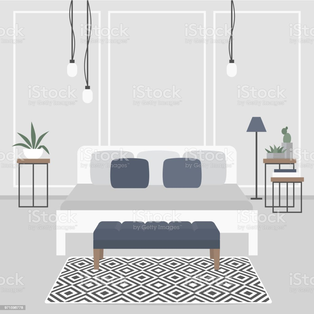 Moderne Innenarchitektur Skandinavischen Stil Doppelbett ...