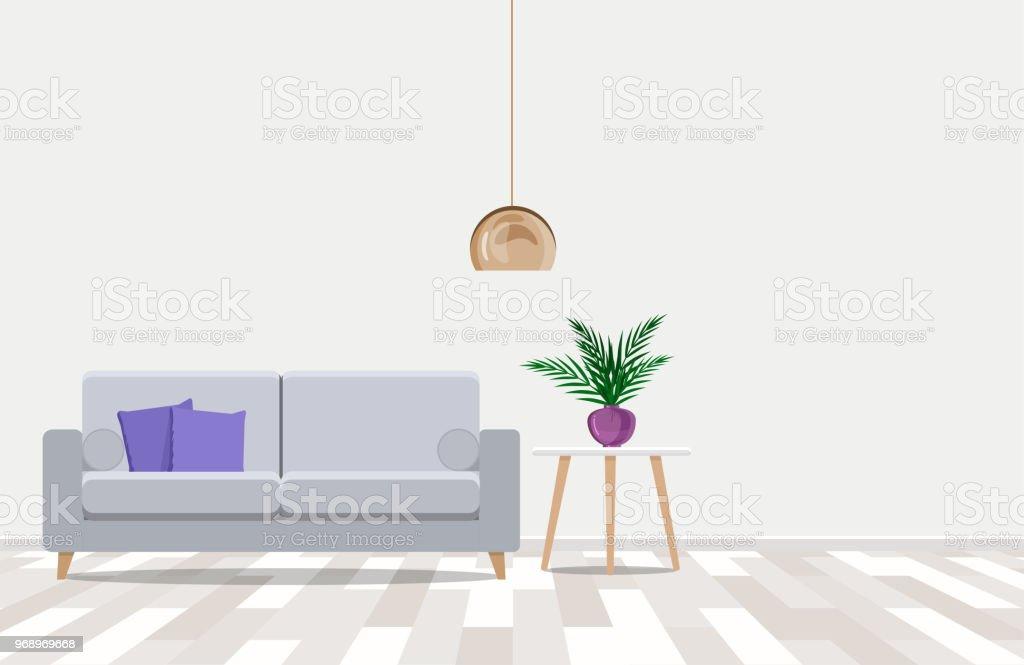 Modernes Design Mit Einem Leichten Sofa Vor Einer Weissen Wand
