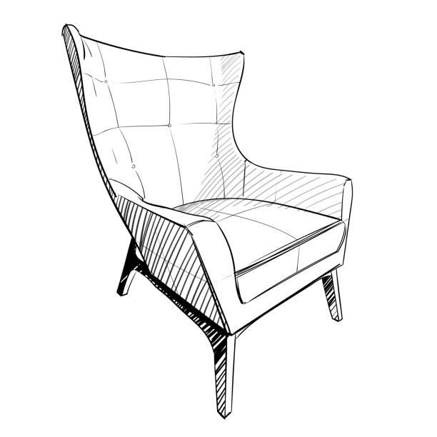 モダンなインテリア。手のデッサンの椅子。 - 椅子 家具点のイラスト素材/クリップアート素材/マンガ素材/アイコン素材