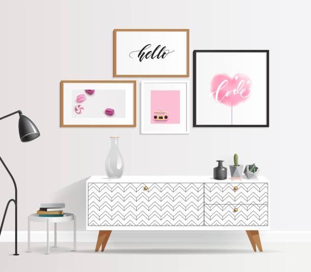 ilustrações de stock, clip art, desenhos animados e ícones de modern interior in pink, white, gold and grey colors and geometric patterns. - sideboard