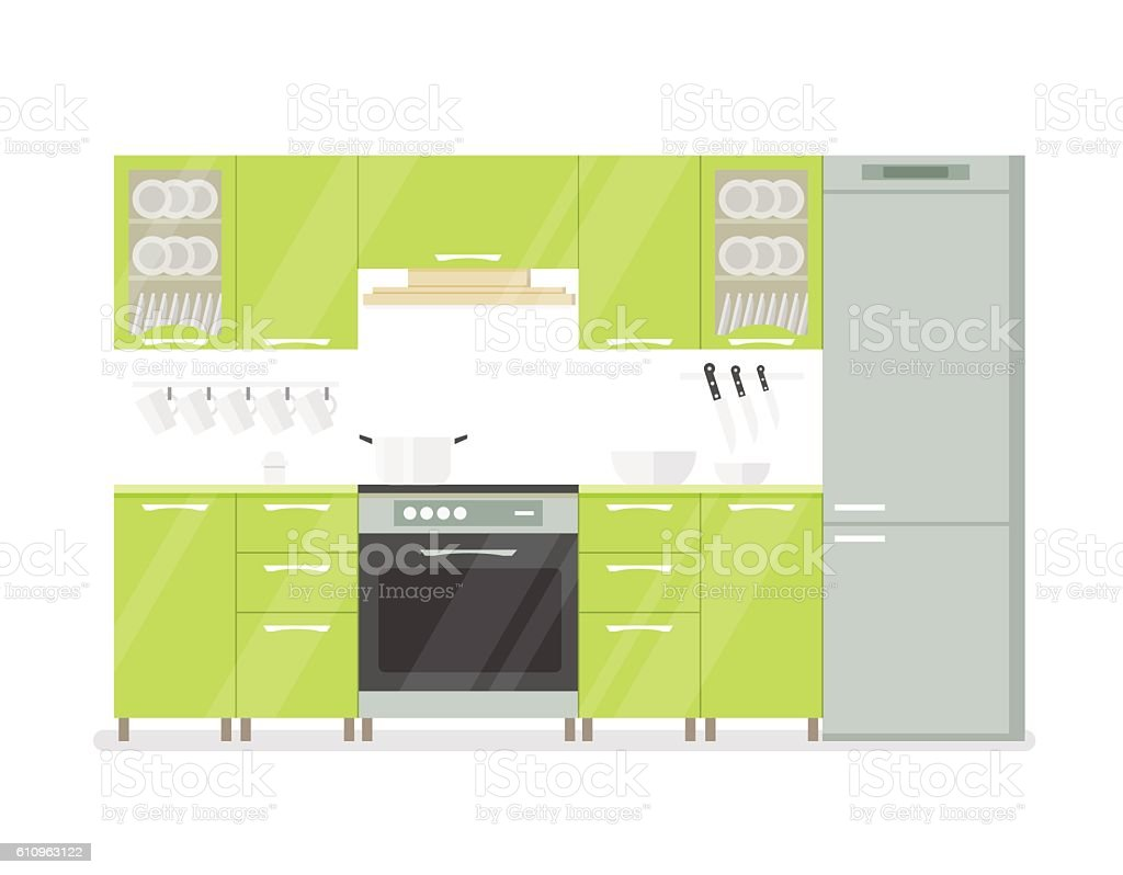 Modern interior kitchen room in green tones. Isolated on white vector art illustration