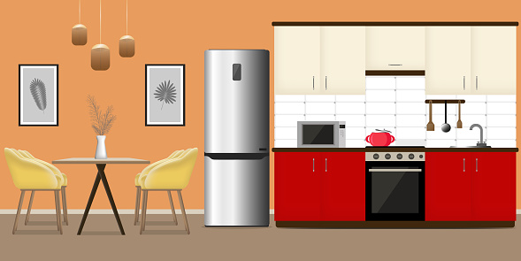 Modern interior of a kitchen or dining room